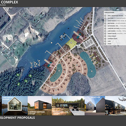 Proposal of camping and recreational building complex. Pechory, Pskov region, Russia
