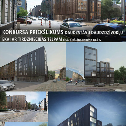 Residential and office building proposal. Riga, Kr.Barona street 72 / Competition 2014