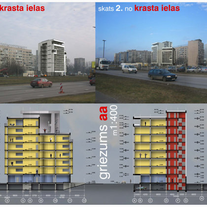 COMPETITION. RESIDENTIAL BUILDING / DIVIDED 1ST PLACE Riga, Krasta street / 2005/01
